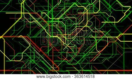 Abstract Background With Bended Colorful Pipes Isolated On Black Background, Seamless Loop. Animatio
