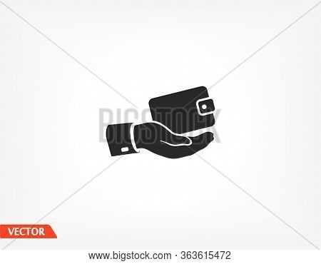 Outline Wallet Icon In Hand Isolated On Background. Hand Wallet App , Hand Wallet Logo, User Interfa