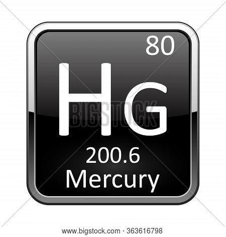 Mercury Symbol.chemical Element Of The Periodic Table On A Glossy Black Background In A Silver Frame