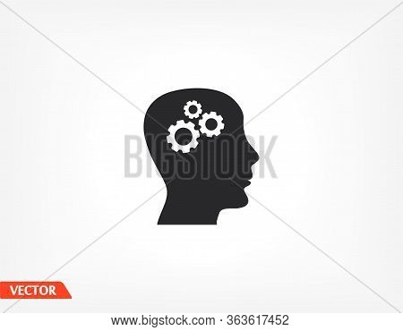Pictograph Of Gears In Head Icons. Vector Eps 10. Head. Gear. Settings In The Head. The Head Is Thin