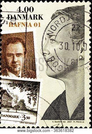 02 10 2020 Divnoe Stavropol Territory Russia The Postage Stamp Denmark 2001 Stamp Exhibition Hafnia