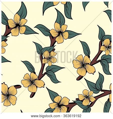 Magnolia On White Background. Seamless Texture. Vector Illustration Template. White Background. Deli