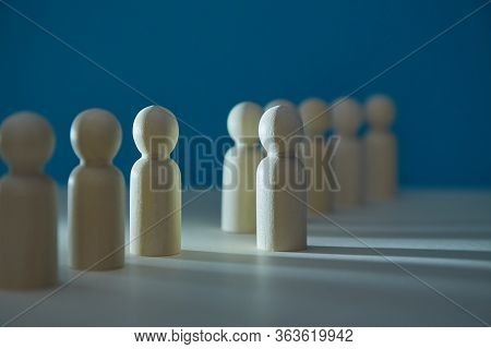 Wooden Figures In Line Mockup. Thinking Outside Box. Stand Out Of Crowd. Individuality, Lateral Thin
