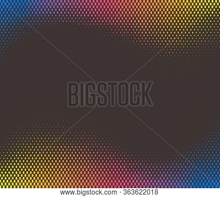 Color Digital Halftone Hexagon Effect Fade On Black Background. Rts Technology Background.