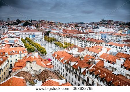 March 1, 2017. Lisbon, Portugal: Birds-eye Skyline View Of Rossio, Main Square Of Lisbon From The Sa
