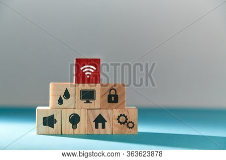 Online Services. E-payment Of Utility Services. Pyramid Of Wooden Cubes With Public Utilities Signs,