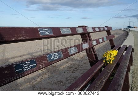 Rhyl, Uk - Jan 29, 2019: The Roll Of Honour Bench At Rhyl Harbour Commemorates Local Seamen