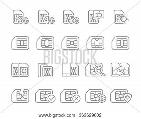Set Of Sim Card Line Icons. 3g, 4g, 5g - Network, Mobile Internet, Emv Chip, Cards Slot, Phone Chip
