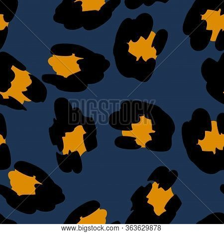Yellow Cheetah Vector Seamless Pattern Blue Background. Animal Leopard Printed Tie. Dyed Jaguar Text