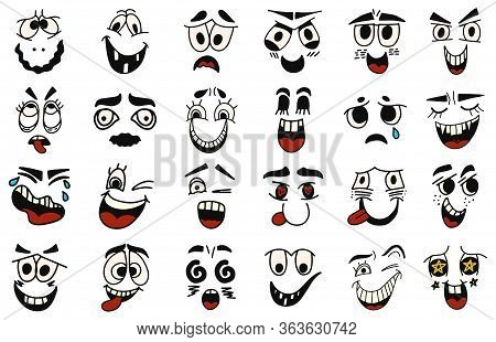 Cartoon Faces. Kawaii Cute Faces. Expressive Eyes And Mouth, Smiling, Crying And Surprised Character