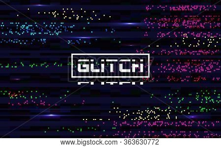 Glitch Pixel Backdrop. Glitched Color Lines. Digital Distortion Effect. Abstract Colorful Noise. Vid