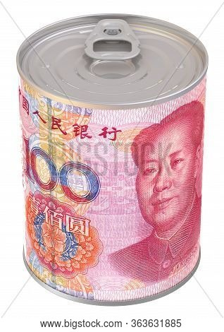 Financial Reserve In Chinese Yuan. Tin Can With A Label In The Form Of A Banknote Of The Chinese Yua