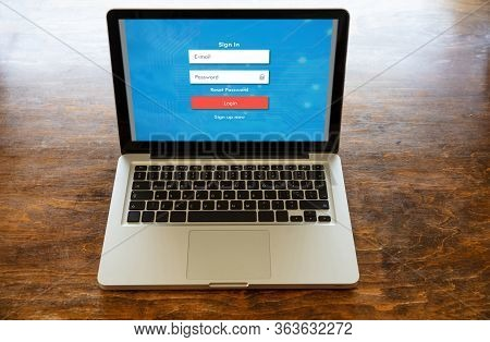 Login Password On A Laptop Screen. Internet Security Concept. .