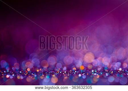 Decoration Twinkle Lights Background, Abstract Glowing Backdrop With Circles, Modern Design Overlay