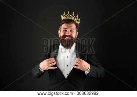I Am The Best. King Of Style. Bearded Man Wear Golden Crown. Elegant Man In Formal Wear At Special E