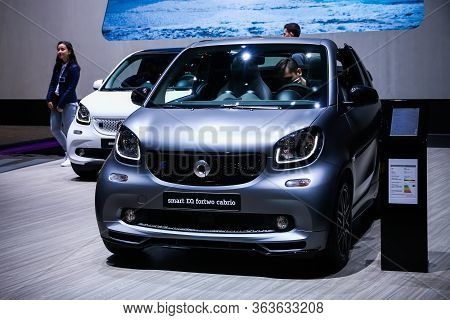 Geneva, Switzerland - March 11, 2019: Electric Compact Car Smart Eq Fortwo (a453) Presented At The A