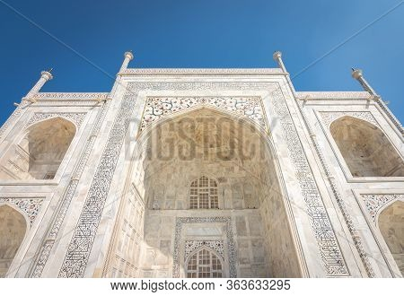 Facade Details In The White Marble Of The Taj Mahal Mausoleum Built In 1643 By Mughal Emperor Shah J