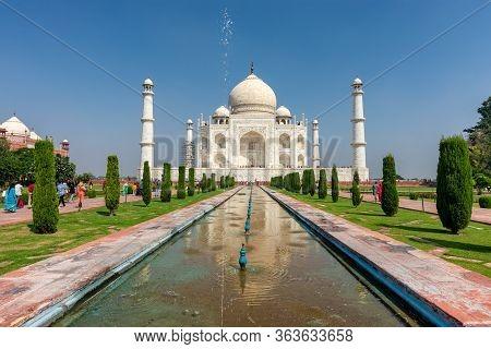 Agra, Uttar Pradesh / India - October 5, 2019: Taj Mahal Mausoleum Built In 1643 By Mughal Emperor S