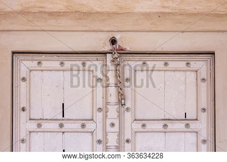 Old White Door, Architectural Detail In Historical Agra Fort Of The Mughal Dynasty Emperors, Unesco