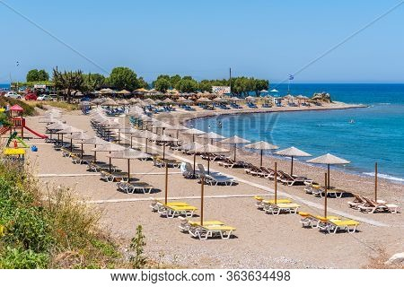 Rhodes, Greece - May 16, 2018: Kamiros Beach, One Of The Best Beaches On The West Coast Of Rhodes. D