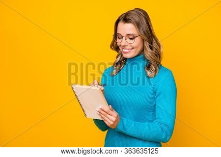 Photo Of Attractive Business Lady Wavy Hairdo Hold Paper Personal Planner Writing Interview Answers