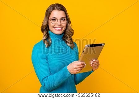 Photo Of Beautiful Attractive Wavy Business Lady Hold Modern Technology E-reader Corporate Report On