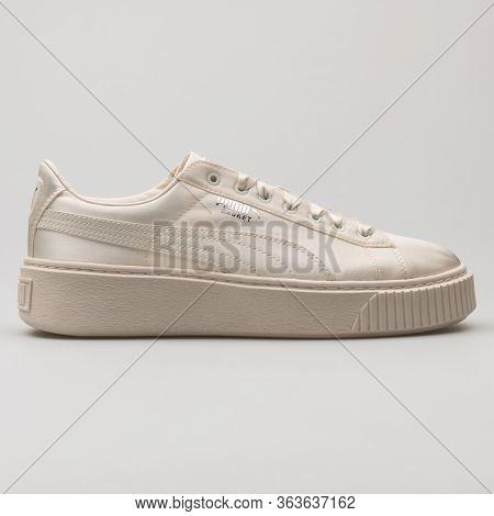 Vienna, Austria - February 19, 2018: Puma Basket Platform Tween Cream Sneaker On White Background.