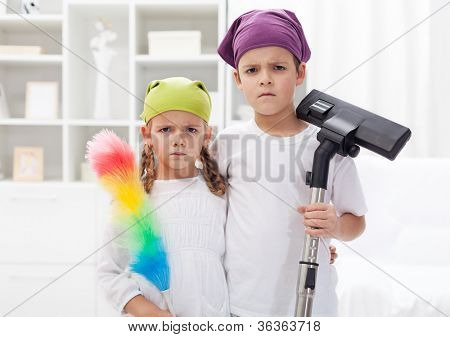 Why do we have to clean our room - upset kids with cleaning utensils