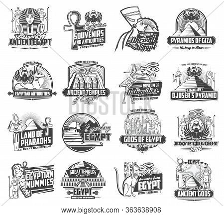 Egypt Tourism And Travel Vector Icons, Ancient Egypt Culture And Ancient Landmarks. Welcome Tor Egyp