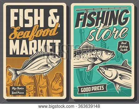 Fishing And Seafood Market, Vector Vintage Retro Posters. Fishing Equipment Rods And Lures Store And