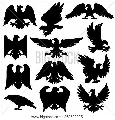 Heraldic Eagle, Vector Icons Of Gothic Heraldic Hawk Or Falcon Birds. Black Silhouettes Of Eagle Wit
