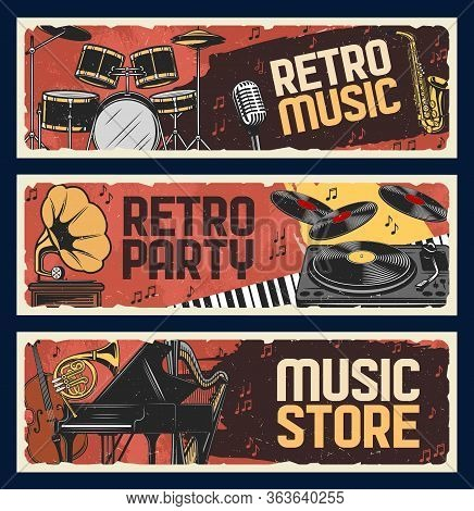 Retro Music Instruments Store, Vector Retro Vintage Banners. Jazz Music Festival And Live Musical Pa