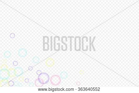 Blue Soap Bubble Effect Transparent Background. Isolated Soapy Ball Banner. Colored Air Soapy Patter