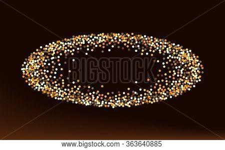 Golden Confetti Falling Brown Dark Background. Modern Polka Texture. Gold Dot Vector Wallpaper. Glow