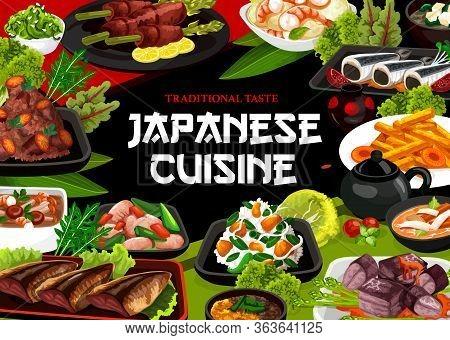 Japanese Cuisine, Authentic Restaurant Vector Food Menu. Japanese Traditional Vinegar Potatoes, Pork