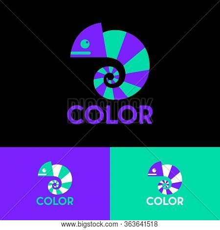 Chameleon Logo. Colored Bright Chameleon. Isolated Chameleon On  A Different Backgrounds. Logo For C