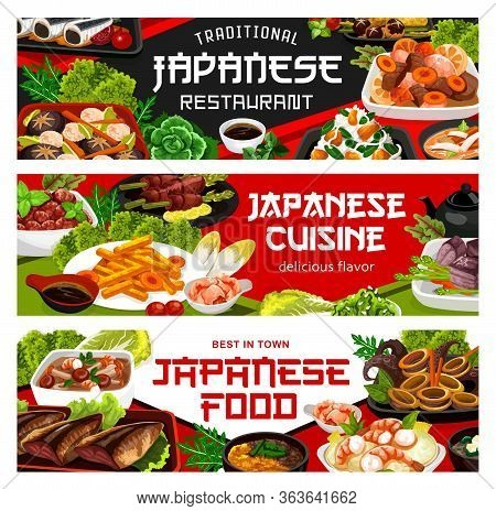 Japanese Cuisine Restaurant Vector Banners, Japan Authentic Food Dishes Menu. Traditional National J