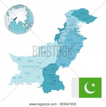 Pakistan Administrative Blue-green Map With Country Flag And Location On A Globe.