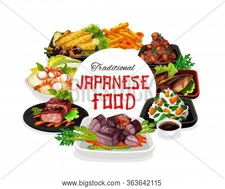 Traditional Japanese Cuisine Dishes, Vector Restaurant Menu Cover. Japanese National Authentic Lunch