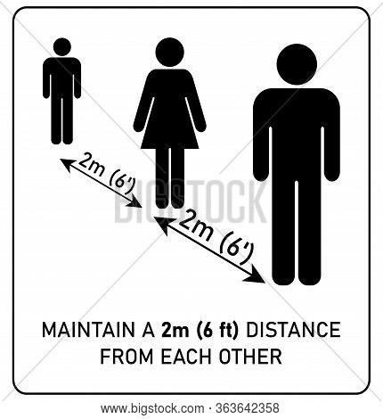 Social Distancing Sign. Simple Man And Woman Silhouettes Standing In Queue 2m (6 Feet) Apart. Corona