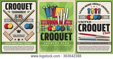 Croquet Sport Club Tournament And Country Team Championship, Vector Vintage Posters. Garden Croquet