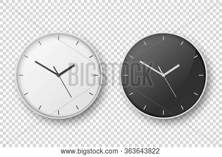 Vector 3d Realistic Simple White Round Wall Office Clock Set. White And Black Dial. Closeup Isolated