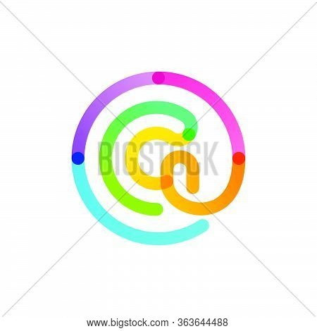 G Letter Logo In A Rainbow Gradient Circle. Impossible One Line Style. Perfect Colorful Icon For Dig