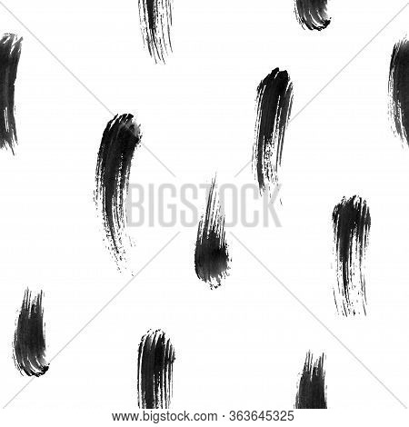 Hand-drawn Watercolor Brushstrokes With Brushstroke. Vector Illustration Black Seamless Pattern. Tra