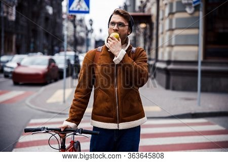 Dreamy Man On Zebra Crossing In The City Stock Photo