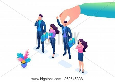 Isometric Employer Hand Choosing Man From Selected Group Of People, Recruiting Concept. Concept For