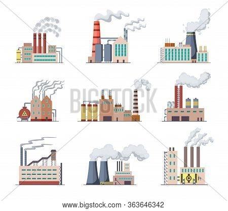 Set Of Factories And Power Plants Flat Design Of Vector Illustration. Manufactory Industrial Buildin