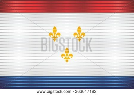 Shiny Grunge Flag Of The New Orleans - Illustration,  Three Dimensional Flag Of New Orleans