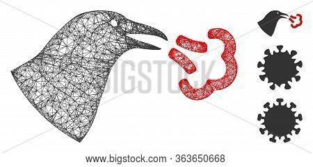 Mesh Bird Influenza Polygonal Web Icon Vector Illustration. Abstraction Is Based On Bird Influenza F