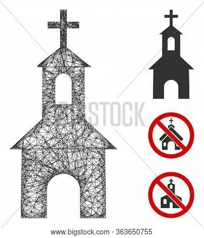 Mesh Catholic Kirch Polygonal Web 2d Vector Illustration. Carcass Model Is Based On Catholic Kirch F